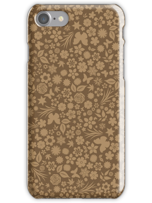 Flower & Butterfly Pattern - Fawn by chayground