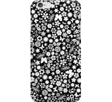 Flower & Butterfly Pattern - White Flowers (Black Background) iPhone Case/Skin