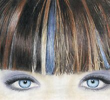 Blue Eyes Coloured Pencil Drawing (Natural Colour) by Inma Vassar