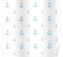 Light-Blue Anchors Poster