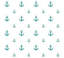 Teal Anchors Photographic Print
