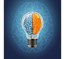 Symbol of idea with the brain shape left and right Photographic Print