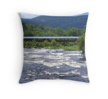 River walk covered bridge with a full river.  Throw Pillow