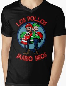 Los Pollos Mario Bros Mens V-Neck T-Shirt