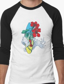 Wave in bloom - Surfboard with Hibiscus  Men's Baseball ¾ T-Shirt