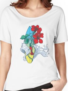 Wave in bloom - Surfboard with Hibiscus  Women's Relaxed Fit T-Shirt