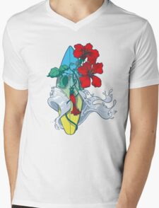 Wave in bloom - Surfboard with Hibiscus  Mens V-Neck T-Shirt