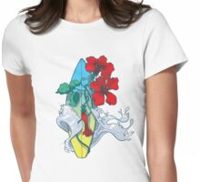 Wave in bloom - Surfboard with Hibiscus  Womens Fitted T-Shirt