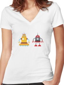 robot love in color Women's Fitted V-Neck T-Shirt