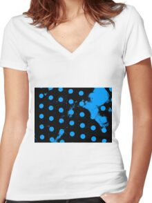 abstract polka dots blue Women's Fitted V-Neck T-Shirt
