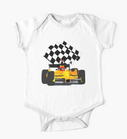 Yellow Race Car with Checkered Flag One Piece - Short Sleeve