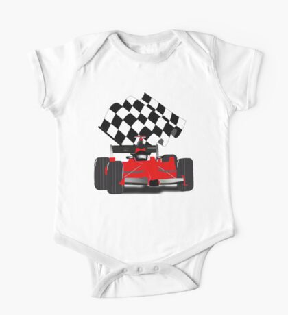 Red  Race Car with Checkered Flag One Piece - Short Sleeve