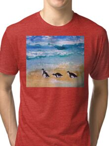 Three Little Penguins Out for a Stroll  Tri-blend T-Shirt