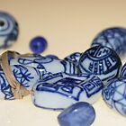 Blue & white beads by Fizzgig7