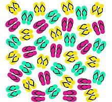 Cute Summer Neon Flip Flops Pattern Photographic Print