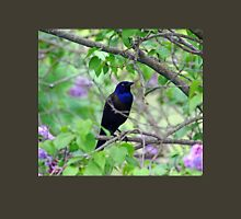 Black Bird Amidst The Lilacs Womens Fitted T-Shirt