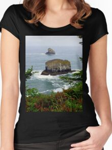 Cape Meares Sea Stacks ~ Oregon   Women's Fitted Scoop T-Shirt