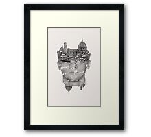 head in the clouds multiple exposure Framed Print