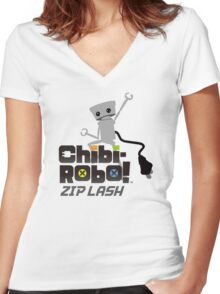 Chibi-Robo : Zip Lash Women's Fitted V-Neck T-Shirt