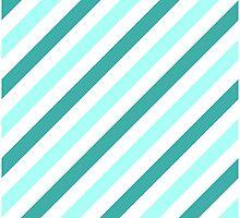 Teal-Diagonal-Tinted-White Two-Tone Diagonal Stripes by ImageNugget