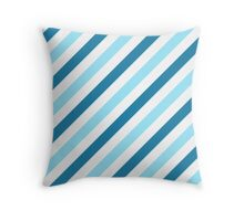 Blue-Diagonal-Tinted-White Two-Tone Diagonal Stripes Throw Pillow