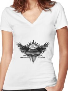 Supernatural driver picks the music 2QAB Women's Fitted V-Neck T-Shirt
