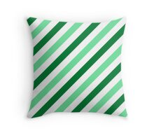 Green-Diagonal-Tinted-White Two-Tone Diagonal Stripes Throw Pillow