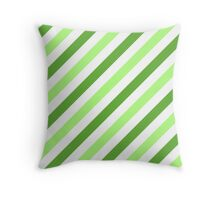 GrassGreen-Diagonal-Tinted-White Two-Tone Diagonal Stripes Throw Pillow