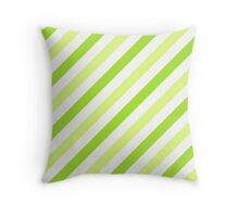 LimeGreen-Diagonal-Tinted-White Two-Tone Diagonal Stripes Throw Pillow