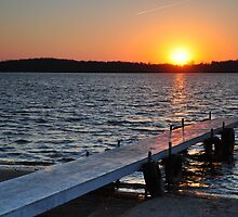 Prairie Creek Reservoir-Pier at Sunset by mltrue