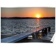 Prairie Creek Reservoir-Pier at Sunset Poster