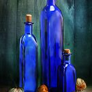 Blue bottles by Mandy Disher