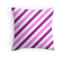 Magenta-Diagonal-Tinted-White Two-Tone Diagonal Stripes Throw Pillow