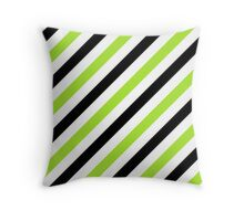 Black-2-Diagonal-Tinted-White Two-Tone Diagonal Stripes Throw Pillow