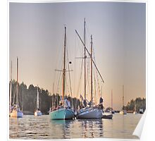 Sombrio and Native Girl at anchor, Silva Bay, Gabriola Island, BC Poster