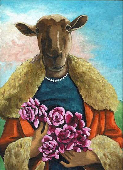 Pink Roses - animal  painting by LindaAppleArt