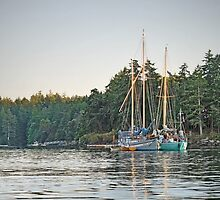 Sombrio and Native Girl at anchor, Silva Bay, Gabriola Island, BC by Ryan Watts