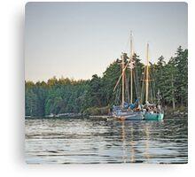 Sombrio and Native Girl at anchor, Silva Bay, Gabriola Island, BC Canvas Print