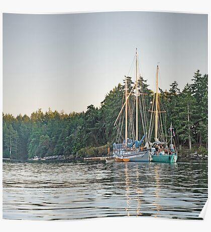 Sombrio and Native Girl at anchor, Silva Bay, Gabriola Island, BC Poster