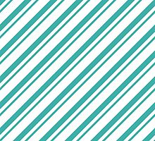 Teal Thin Diagonal Stripes by ImageNugget