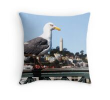 Sea Gull over Coit Tower Throw Pillow