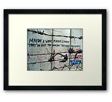 Bethlehem's Apartheid Wall - words of protest Framed Print