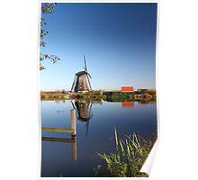 Mill in Kinderdijk near Rotterdam, NL Poster