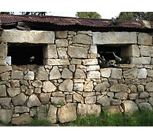 Old shed with rock walls Photographic Print