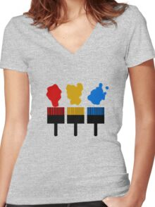 Paintbrush TShirt Women's Fitted V-Neck T-Shirt