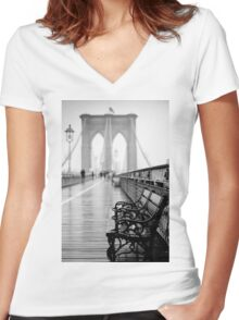 Brooklyn Bridge Bench Women's Fitted V-Neck T-Shirt