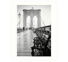 Brooklyn Bridge Bench Art Print