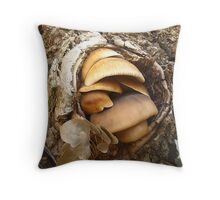 Fungus growing in a hallow of a dead tree Throw Pillow