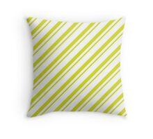 Chartreuse Thin Diagonal Stripes Throw Pillow