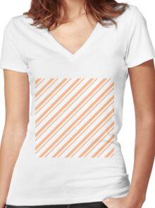 Peach Thin Diagonal Stripes Women's Fitted V-Neck T-Shirt